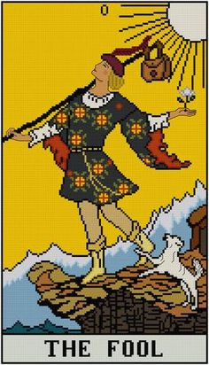 The Fool Tarot Card cross stitch pattern PDF by Whoopicat on Etsy