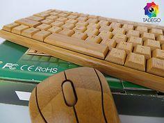 Echtholz Handgefertigt Bambus Set Wireless Tastatur Maus Keyboard PC Windows Mac