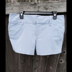 Daisy Fuentes Shorts Size 12 These Daisy Fuentes shorts are gently used. They are made of 68% cotton, 30% polyester, and 2% spandex. They are a periwinkle blue and are fastened by a button and two clips. The back pockets are sewn shut. I only wore them a couple of times and found them to be a little too loose in the thigh area for my liking. They are a size 12. Daisy Fuentes Shorts