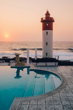 #travel #travelbloggers #travelsblog #seaside #ocean #beach #beachlide The Oyster Box, Lighthouse, Leisure, Hotel, Oceanview, Food, Drink, Eat, Relax, Swim, Pool Wmbw, Pool Lounge, Old World Charm, Ocean Beach, Cn Tower, Oysters, Lighthouse, Seaside, South Africa