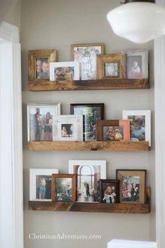 Learn how to make this easy DIY picture ledge on a small budget. Perfect home decor idea for displaying pictures in a hallway! Learn how to make this easy DIY picture ledge on a small budget. Perfect home decor idea for displaying pictures in a hallway! Picture Shelves, Picture Ledge, Photo Ledge Display, Diy Wand, Decoration Bedroom, Decoration Design, Easy Home Decor, Cheap Home Decor, Diy Home Decor On A Budget Easy