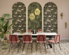 Visit the post for more. Interior Wallpaper, Style Deco, Motif Floral, Dining Chairs, Decoration, Art Deco, Wall Decor, Gauche, Styles