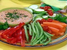 Roasted Red Pepper Hummus and Crudite recipe from Rachael Ray via Food Network