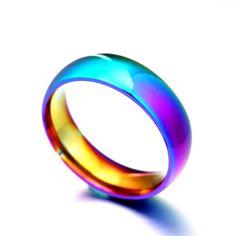 Rainbow Titanium Steel Wedding Band