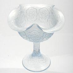 Fenton Persian Medallion Velva Blue Stretch Glass Compote Vintage Glass