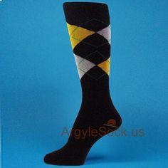 Black, Gold Yellow, Light Gray Men's Groomsman Argyle Socks