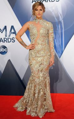 Cassadee Pope from 2015 CMA Awards Red Carpet Arrivals  Oh la la! She's all elegance in this one-shoulder embroidered gown.