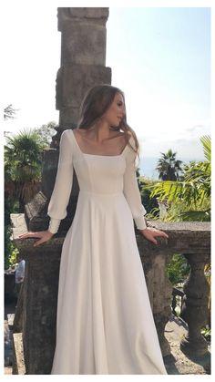 Unusual Wedding Dresses, Modest Wedding Dresses With Sleeves, Simple Wedding Gowns, Wedding Dress Necklines, Minimalist Wedding Dresses, Modest Bridesmaid Dresses, Wedding Dress Styles, Gowns With Sleeves, Crepe Wedding Dress
