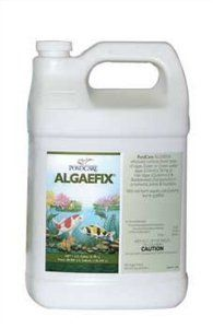 PondCare Algaefix Algae Control, 1-Gallon by Mars Fishcare. $39.89. Safe for fish and plants. Gallon Container treats up to 38,400 gallons. for use in ponds, fountains and waterfalls. Safe for fish, plants and wild life. Kills existing algae & controls additional algae blooms in water gardens. Effectively controls green water algae blooms, string algae and blanketweed. Helps control green water & string algae in ponds. Algaefix effectively controls green water, a...