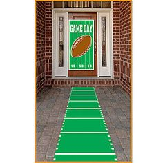 Our Sports Field Aisle Runner has the look of a green football field, complete with white field markers.