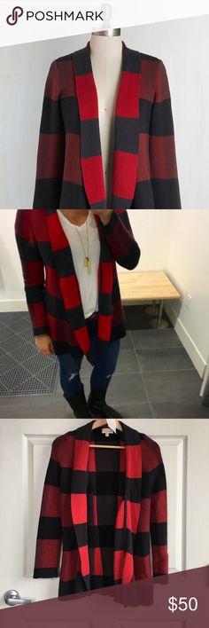 Selling this Modcloth Red + Black Plaid Long Cardigan Sweater on Poshmark! My username is: karendaugherty. #shopmycloset #poshmark #fashion #shopping #style #forsale #ModCloth #Sweaters
