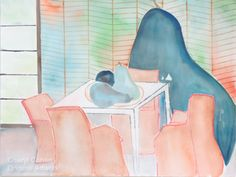 A Pear and a Chair  Watercolor and Pencil