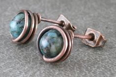 Natural Chrysocolla Earrings Stud Set Antiqued by RuthAndJack