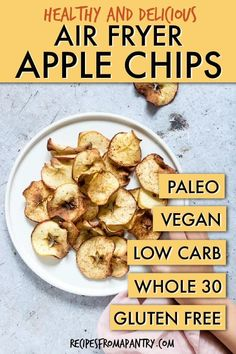 Air Fryer Apple Chips Are A Delicious, Healthy, And Totally Addictive Snack. Since They Are Made With Just 3 Ingredients And Absolutely No Sugar And No Oil, You Can Indulge In This Tasty Treat Totally Guilt Free Without Derailing Your Healthy Eating Plan Air Fryer Recipes Appetizers, Air Fryer Recipes Vegetarian, Air Fryer Recipes Low Carb, Air Fryer Recipes Breakfast, Air Fryer Dinner Recipes, Cooking Recipes, Healthy Recipes, Cooking Tips, Oven Recipes