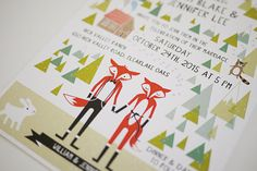 Animal Fox Woodland Wedding Printable Invitation por 3EggsDesign, $45.00