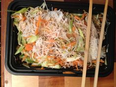 a vietnamese inspired lunch…vermicelli, salmon, scallions, shredded carrots, and cucumber with a lime vinaigrette.