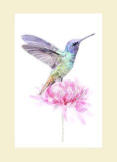 Hummingbird Watercolor Humming bird print by MoonlakeStudio