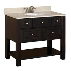 Hagen Espresso Undermount Single Sink Bathroom Vanity with Engineered Stone Top (Common: 36-in x 21-in; Actual: 36-in x 21-in)