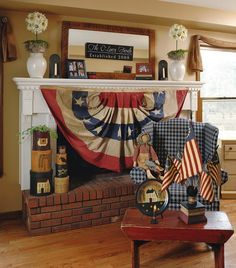 americana around the fireplace