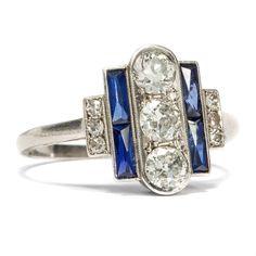 Art Déco 1934: DIAMANT & SAPHIR Ring in Platin, Diamanten / Diamond Sapphire