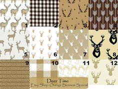 Deer Time Crib Bedding- Changing pad cover, crib sheet, boppy cover, pillow cover, bumper, and crib skirt. Deer with brown prints & plaid! by orangeblossom805. Explore more products on http://orangeblossom805.etsy.com