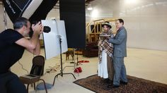 Photographer Kevin Berne at the Pygmalion photo shoot with actors Irene Lucio and Anthony Fusco.