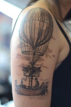 A symbol of my wanderlust and my love of old wood engravings. My cat, Grandpa, is in there too, just for fun. We mixed and matched images from a book about travel. Done by Alice Kendall at Infinity Tattoo in Portland, OR. It took about 4 hours. I am so in love with it!!