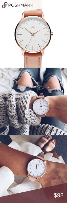 MVMT BOULEVARD WOMENS Watch Very Comfortable Everyday Watch:) ROSE GOLD HARDWARE AND PEACH LEATHER ( strap ) ( I paid $128 including tax ) Light Wear:)( comes with box ) MVMT WATCHES Accessories Watches