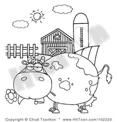 Black and White Cartoon Barn | ... of an Outlined Chubby Cow Eating a Daisy by a Silo and Barn #102220