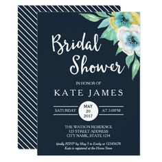 "Blue Watercolor Floral Bridal Shower Invitation Invite the bride-to-be friends and family with this blue Bridal Shower Invitation featuring beautiful watercolor floral. This invitation also includes a patterned back side. Personalize this bridal shower by replacing the placeholder text in the template. For more options such as to change the font and it's size click the ""Customize it"" button. *Please note that the Zazzle Watermark that appears in the zoom preview will NOT appear on the final…"