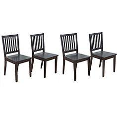 Slat Black Rubberwood Dining Chairs Set Of 4 Ping