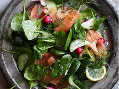 Spinach and Smoked Salmon Salad with Lemon-Dill Dressing | This refreshingly crunchy salad makes for an excellent spring lunch or super quick dinner. Slideshow: Great Green Salads ...