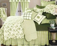 Devon Moss by C & F Enterprises at The Country Porch - plenty of cushions on this bed Green Rooms, Bedroom Green, Bedroom Decor, French Country Bedrooms, French Country Decorating, French Country Bedding, Bedding Sets, Bedspread, Decoration Home
