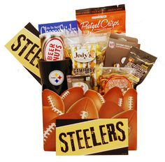 Send Pittsburgh Steelers Gift Basket at Tasteful Treats & Treasures Gift Baskets. Available For Same Day Delivery At Tasteful Treats and Treasures Gift ...