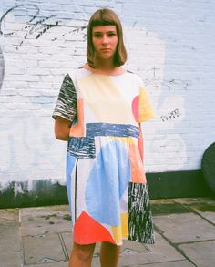 Screen printed 8 colour dress. Photo taken by @bluelaybourne