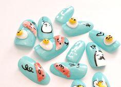 Japanese 3D nail deco nail kawaii food with face by Aya1gou