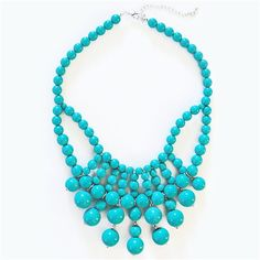 Retro Bauble Necklace - turquoise bib necklace with hanging beads