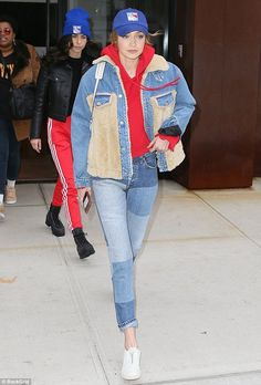 Denim girl! On Monday, Gigi Hadid was spotted wearing a jean ensemble and donning a '47 New York Rangers hat as she stepped out of her apartment in Manhattan