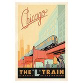 """Hang above record player Found it at Wayfair - """"The L Train Chicago, Illinois"""" by Anderson Design Group Vintage Advertisment on Canvas"""