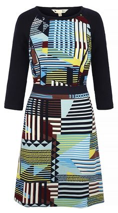 More of a traditional style dress with A line tribal print skirt. Navy fitted waistband and long sleeve. Fitted bodice all in stretch wool fabric. Tribal Print Skirt, Philly Style, Wool Fabric, Fitted Bodice, Put On, Gorgeous Women, Knit Dress, Catwalk, Fashion Dresses