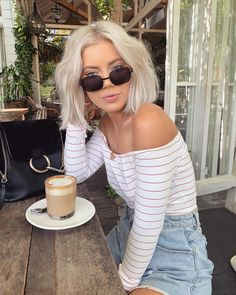 "Laura Jade Stone on Instagram: ""Afternoon coffee hit ☕️ 😄 Wearing @borntobechic ✨"""