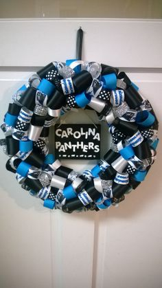 Carolina Panthers themed Ribbon Wreath by just4theloveofit on Etsy, $40.00