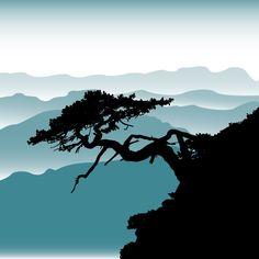 Bonsai Tree Painting Wallpaper - Bonsai Tree With Rollin Hills Mural Tree Of Life Artwork, Tree Art, Silhouette Painting, Tree Silhouette, Tree Wallpaper, Painting Wallpaper, Tree Sleeve Tattoo, Tattoo Tree, Ikebana