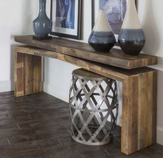 This rugged console table boasts beauty and brawn with mixed reclaimed pine that bares all its perfect imperfections under a natural rustic finish. Shop online now. #LivingSpaces
