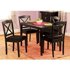 Mason 5 Piece Cross Back Dining Set, Multiple Colors 199 Contemporary rectangular table 4 cross-back chairs Upholstered seats with polyurethane foam fill Rubberwood construction Table: 45''L x 28''W x 29''H Chairs: 17.32'' x 16.5'' x 35.5''H Black cross-back dining set requires assembly