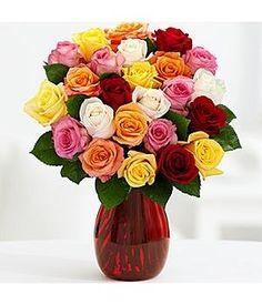 Two Dozen Rainbow Valentine's Day Roses - Flowers