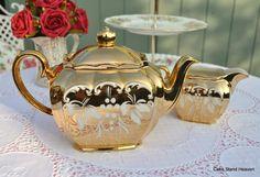 Lustrous antique gold Vintage Sadler Teapot &  Milk Jug made in England 1947