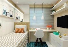 """Interiores e Arquitetura no Instagram: """" Inspiração linda de quarto de solteiro por @nadyadelgado.arquitetura. Ambiente muito aconchegante com toques de cores apenas na decoração…"""""""