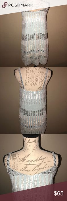 French Connection Icy Blue Sequin Dress Morning Frost Icy Blue Dress by French connection. Lots of sequins. Very pretty dress. Size 6z. Brand new with tags. French Connection Dresses Mini