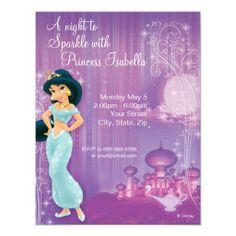 Shop Jasmine Birthday Invitation created by DisneyPrincess. Personalize it with photos & text or purchase as is! Jasmin Party, Princess Jasmine Party, Princess Gifts, Circus Birthday Invitations, Disney Invitations, Birthday Banners, Invitation Paper, Aladdin Party, Aladdin Wedding